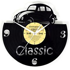 Lp klok Yesterday's vinyl wandklok met klassieke auto 601-3242