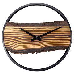 Wandklok met hout en schors NE3264BR