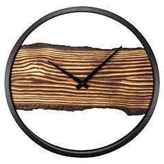 Wandklok met hout en schors NE3263BR