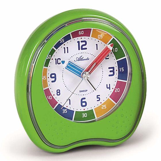 Groene kinderwekker voor leren klokkijken 1953-6A