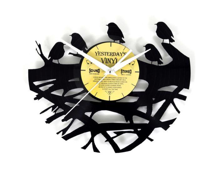 Lp vinyl klok met vogels in nest 601-3226